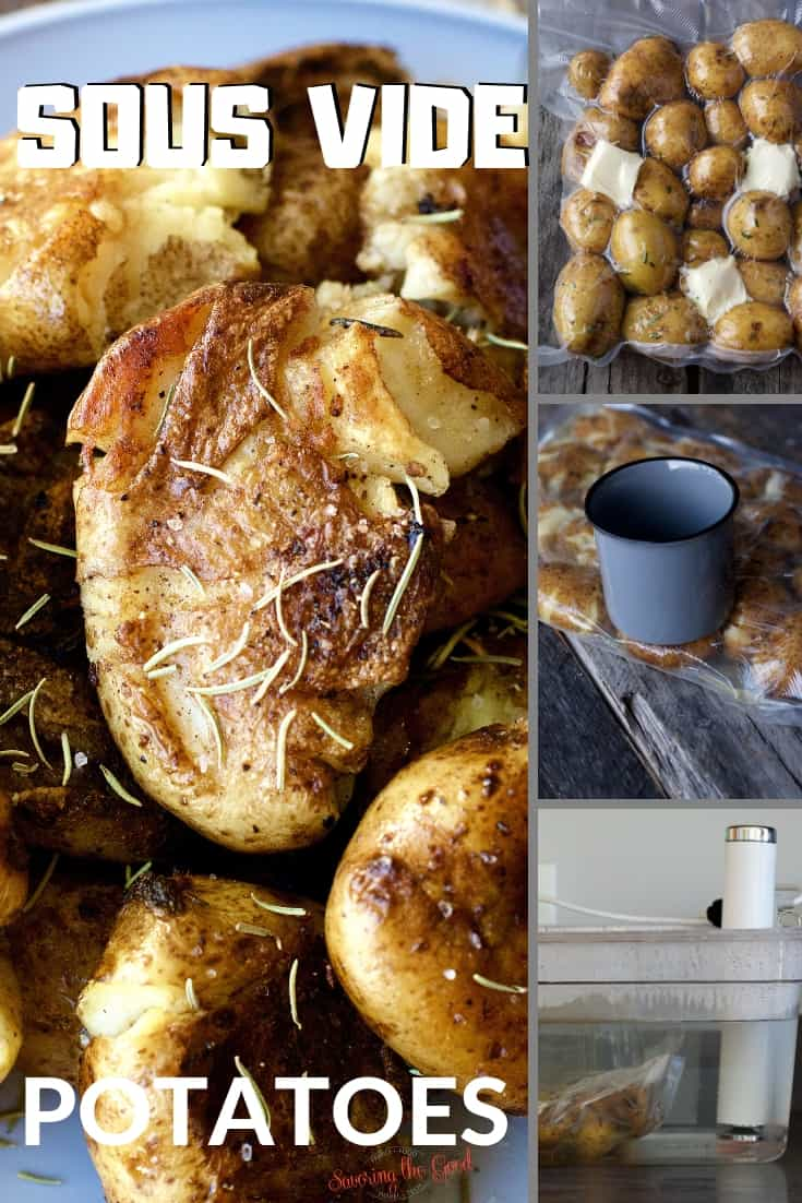 tight shot of Sous Vide Potatoes in a collage with text for Pinterest
