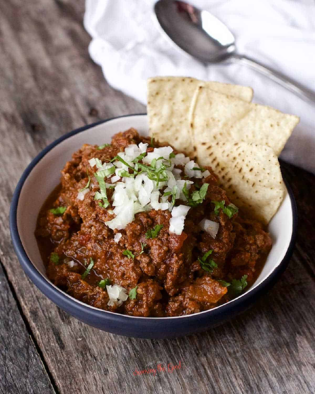 beautiful shot of Beanless Chili