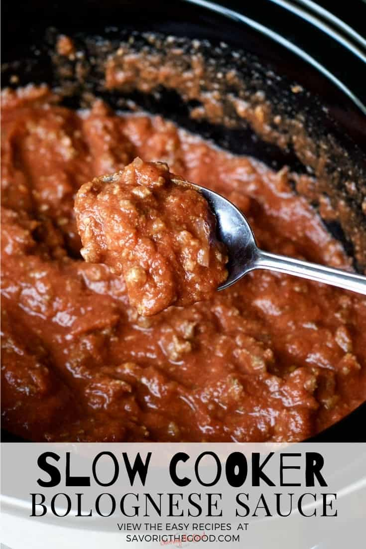 slow cooker Bolognese with a spoon holding Bolognese and text