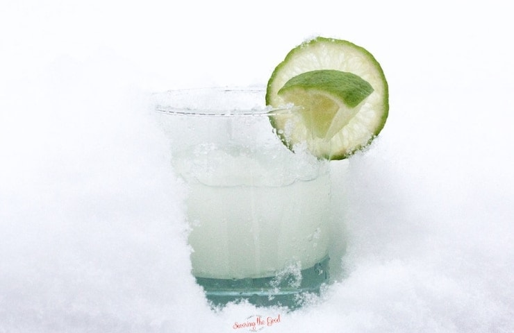 Snow Day Margarita set in snow