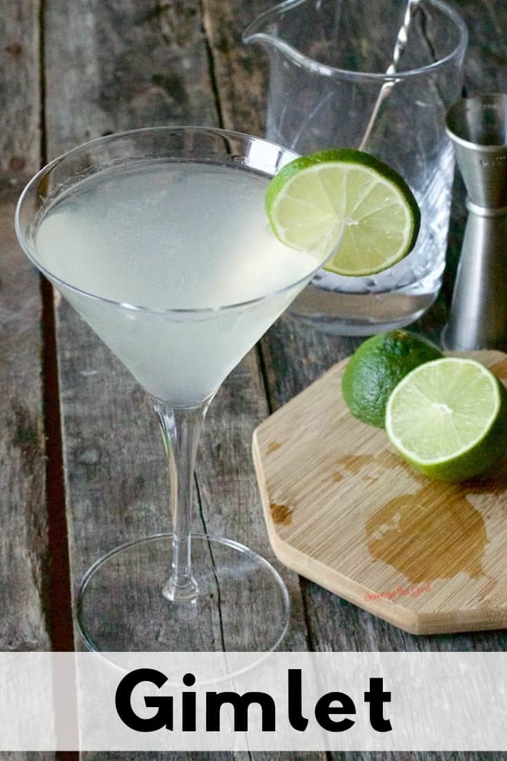 Gimlet with bar accessories around the glass