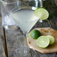 detailed shot of a Gimlet with bar accessories in the background