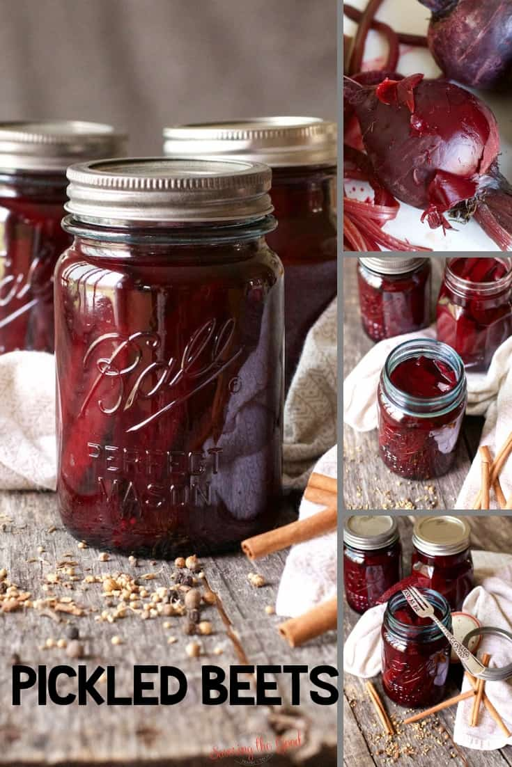 ball canning jar of Pickled Beets collage for pinterest