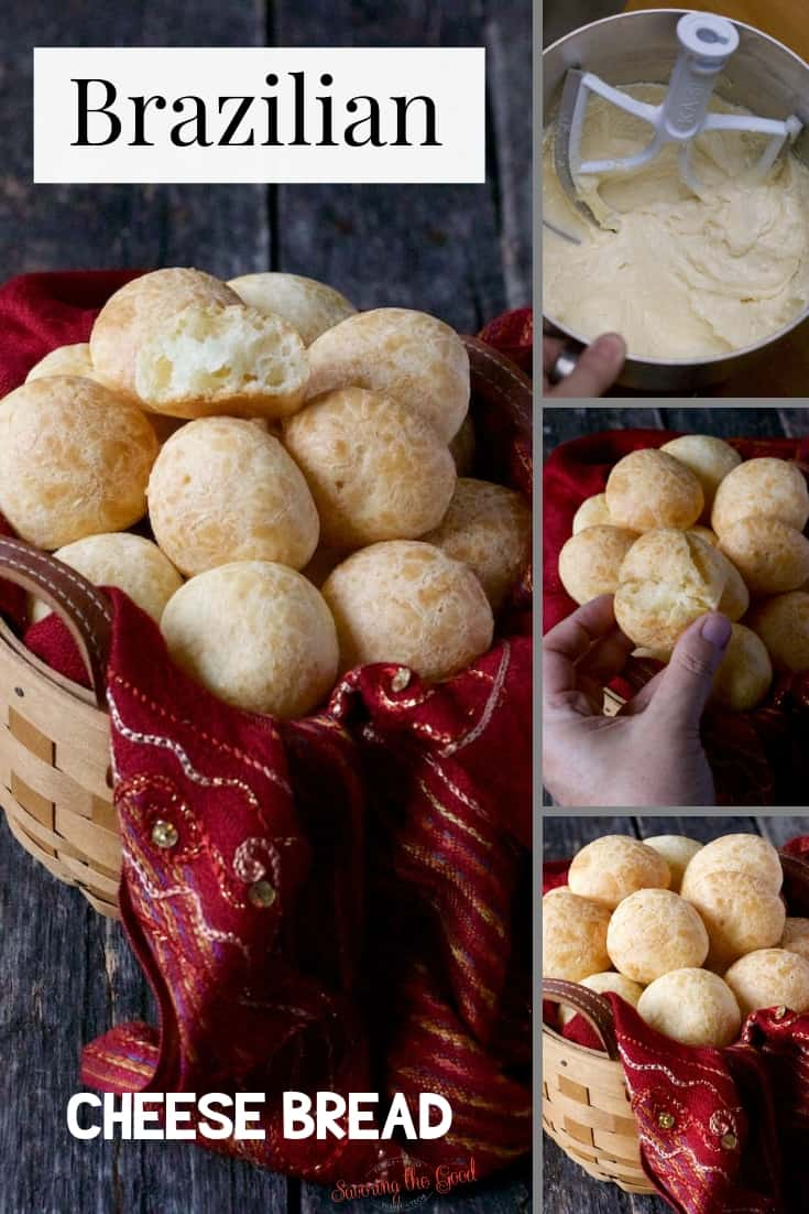 Brazilian cheese bread collage of 4 images for pinterest