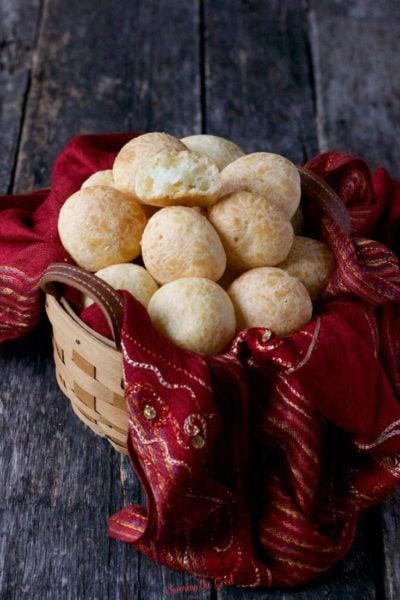 basket of pão de queijo