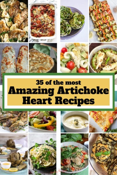 Artichoke Heart Recipes collage for Pinterest