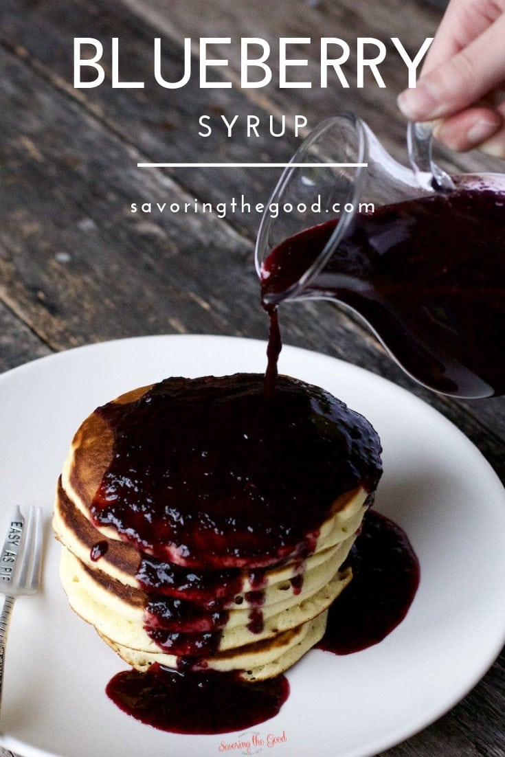 This is the best blueberry syrup recipe. Perfect for pouring over fluffy pancakes, thick waffle or spoon over crepes. Ready to serve in less than 10 minutes this delicious homemade blueberry syrup can be made with your choice of fresh or frozen blueberries. #blueberrysyrup #homemaderecipe #blueberryrecipe #stgrecipes #syrup