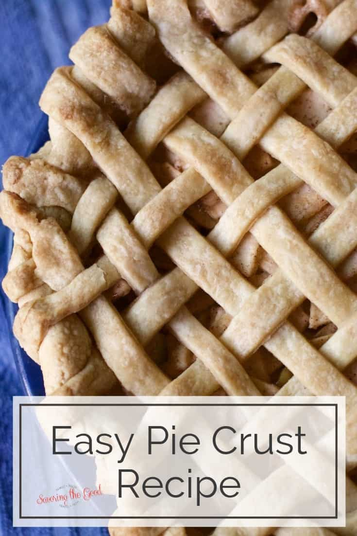 baked apple pie with lattice top with text at the bottom for pinterest