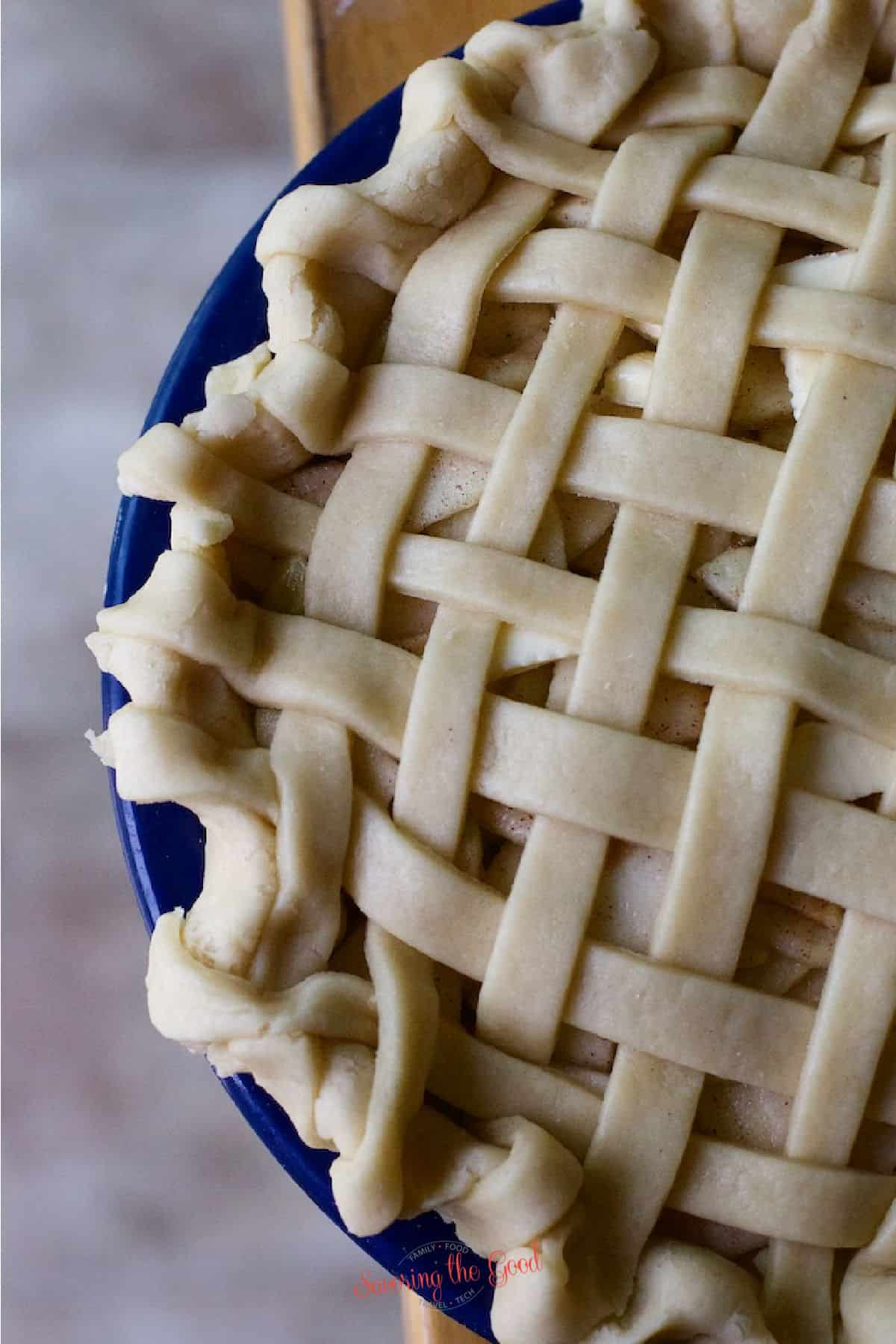 unbaked lattice topped apple pie