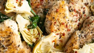 One Pan Creamy Spinach Artichoke Chicken Recipe