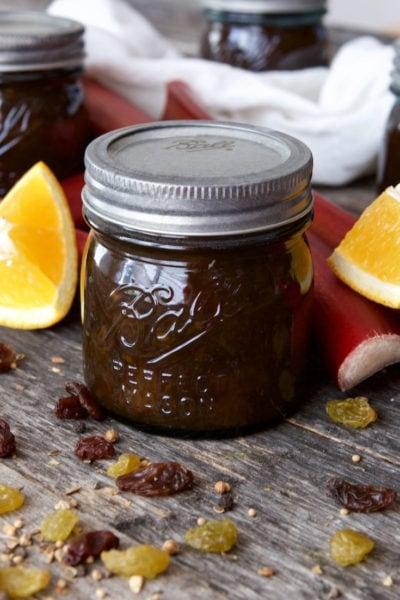 Rhubarb Orange Chutney Recipe in a closed vintage blue ball canning jar.