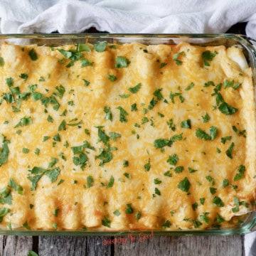 horizontal image, full pan of casserole with chopped cilantro garnish