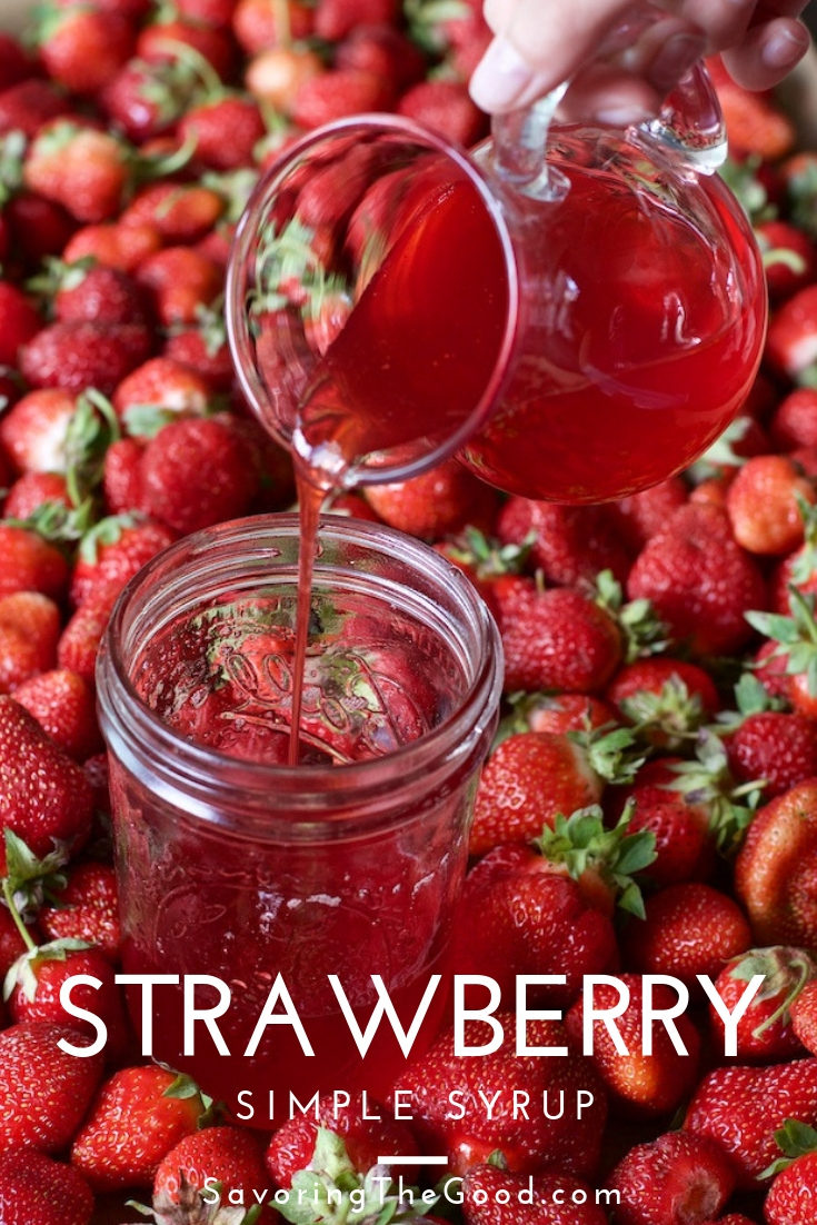 This two ingredient strawberry simple syrup recipe perfect for adding to cocktails, sweetening iced tea or adding to fresh lemonade. #strawberryrecipe #simplesyrup #strawberrysimple #stgrecipes #strawberry