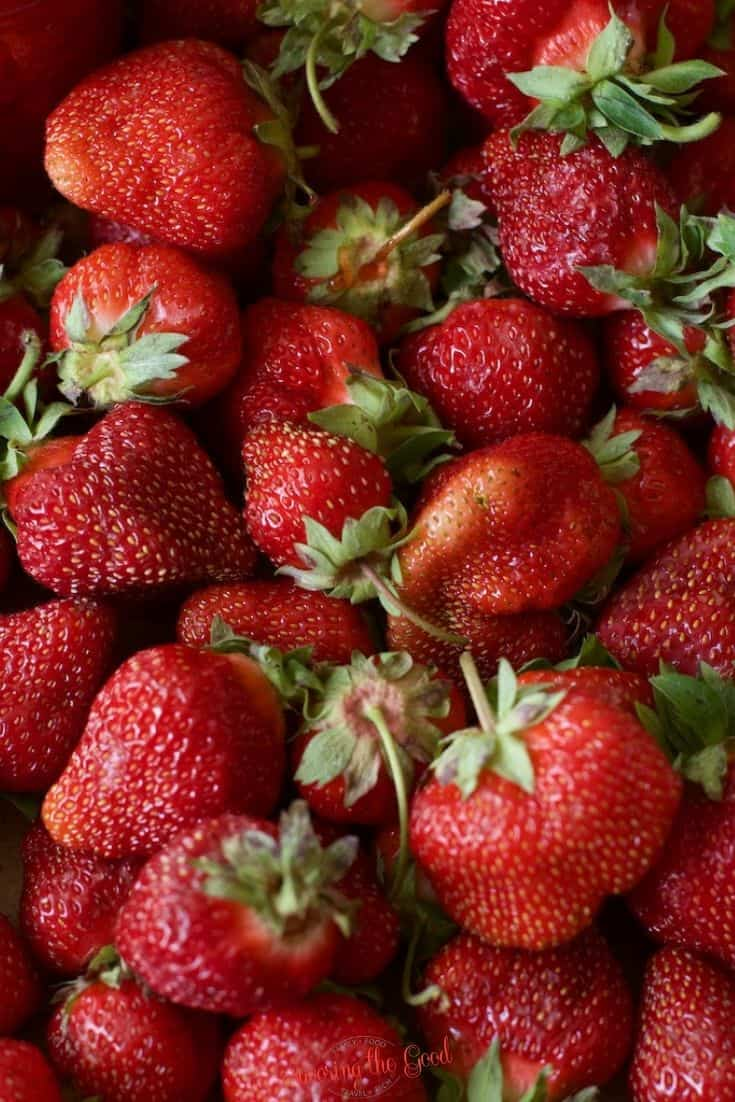 fresh strawberries clustered together