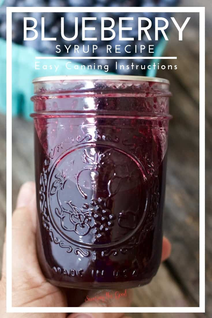 blueberry syrup recipe image with text for pinterest