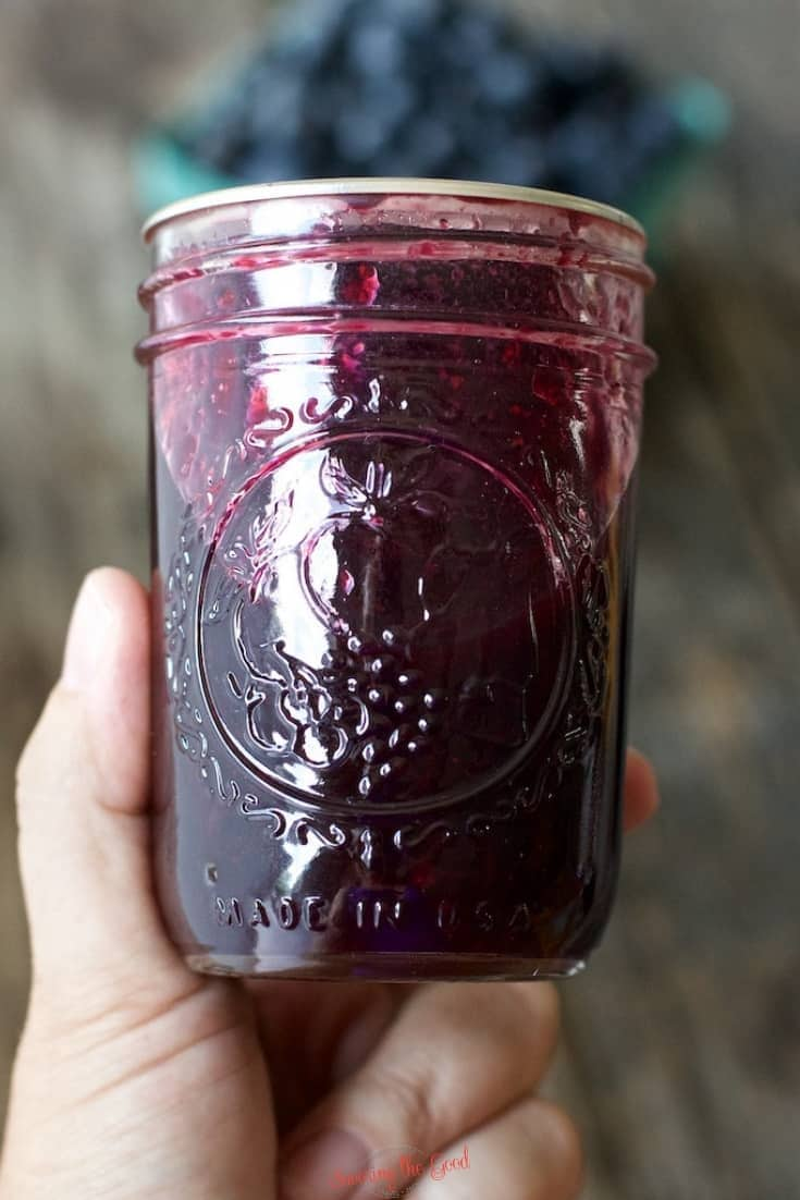 blueberry syrup in a glass quart jar