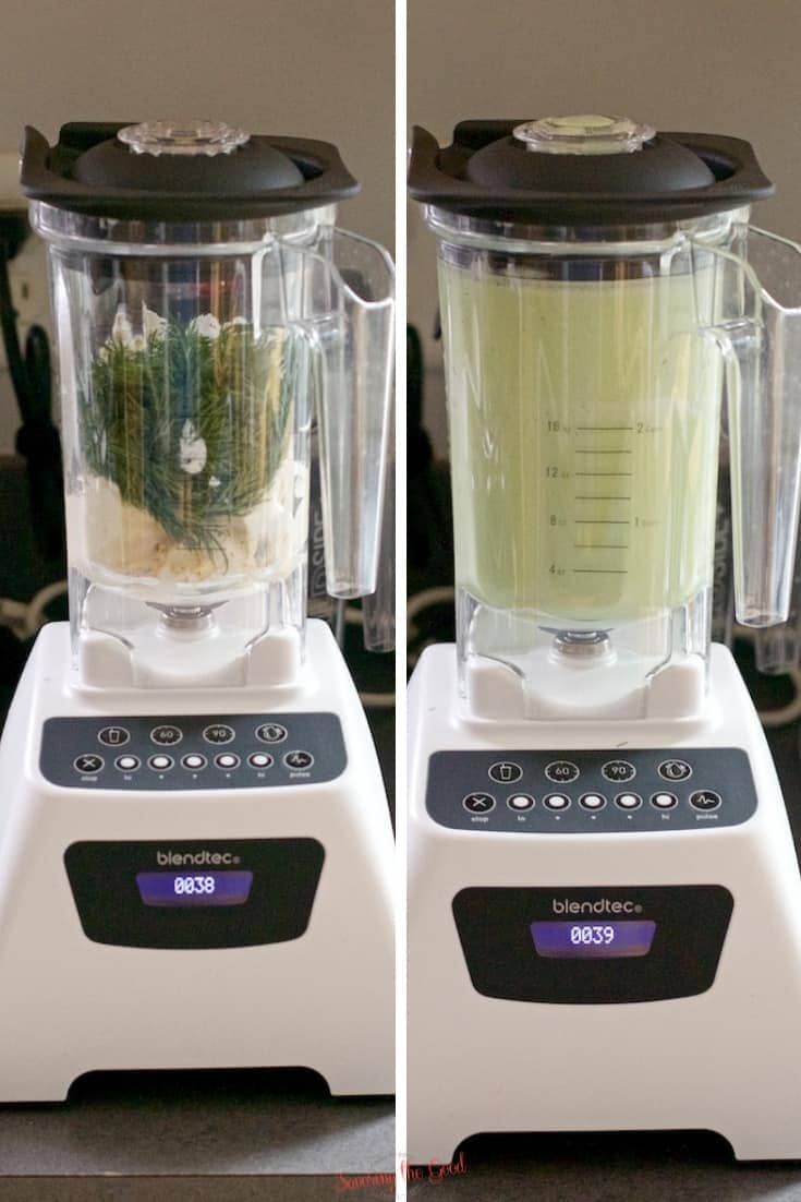 blendtec blender showing before and after the Dill Pickle Pasta Salad dressing