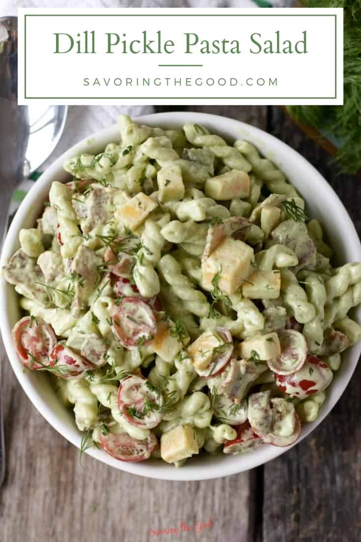 Dill Pickle Pasta Salad Recipe with graphic for pinterest