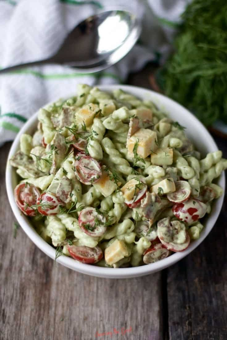 Dill Pickle Pasta Salad in a white bowl