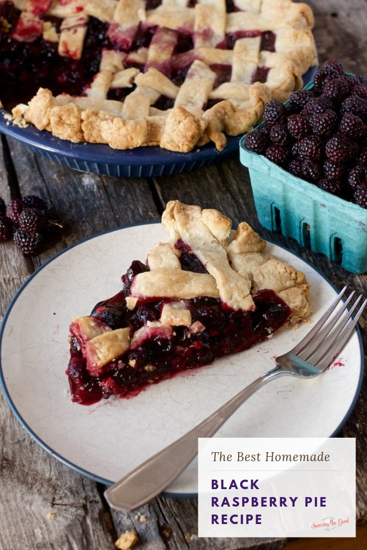 My black raspberry pie recipe can be made with fresh or frozen black raspberries and is made with out tapioca. This is the best black raspberry pie because of it is a two crust pie and has a hint of cinnamon and nutmeg to bring your fork back for another piece of pie. #pie #pierecipe #blackraspberry #blackraspberrypie #fruitpie #stgrecipes