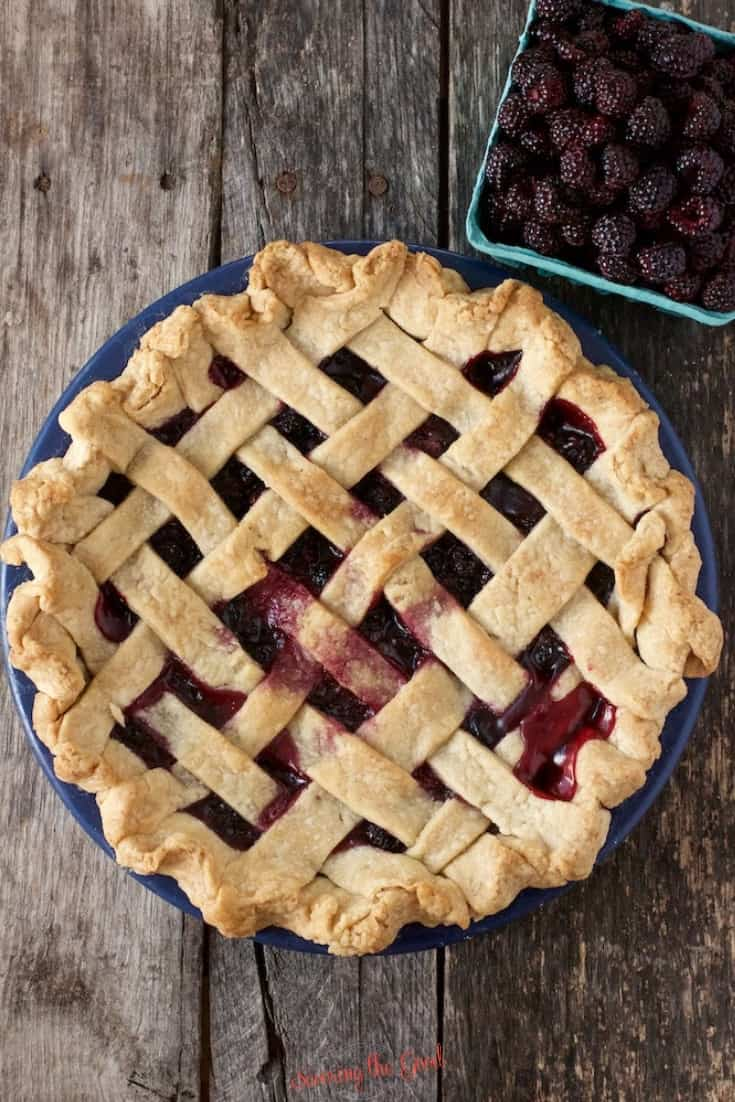 birds eye view of a black raspberry pie