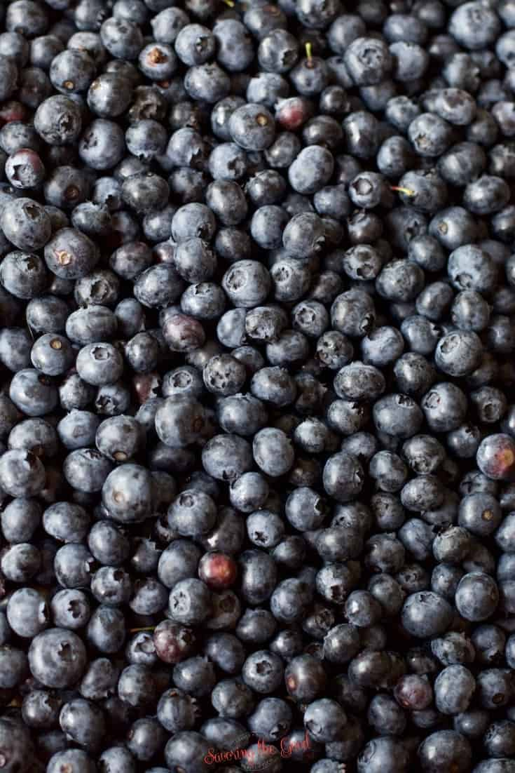 vertical image of blueberries filling the frame