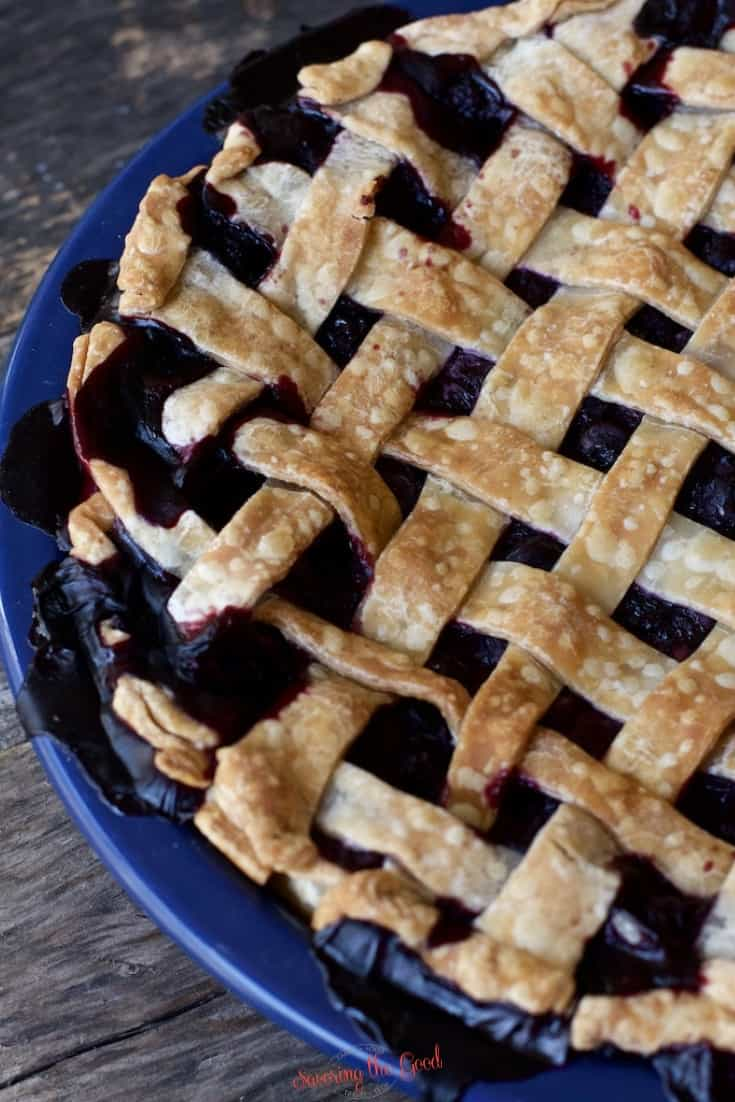 tight shot of a baked blueberry pie