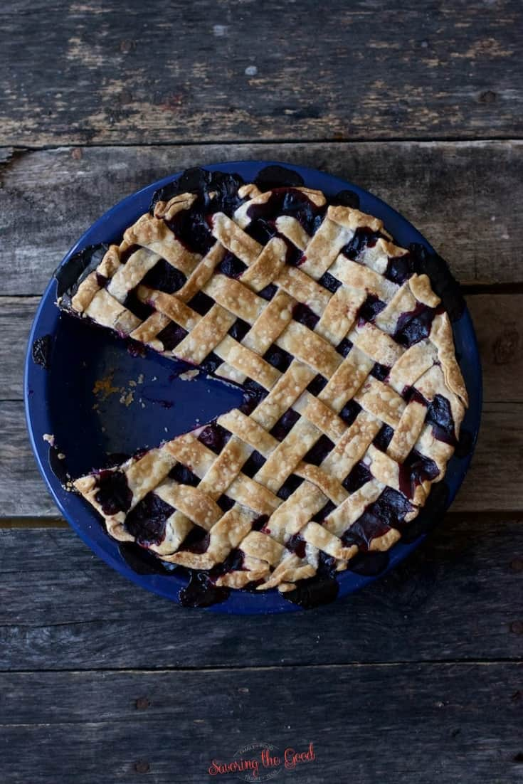 full blueberry pie recipe, baked golden