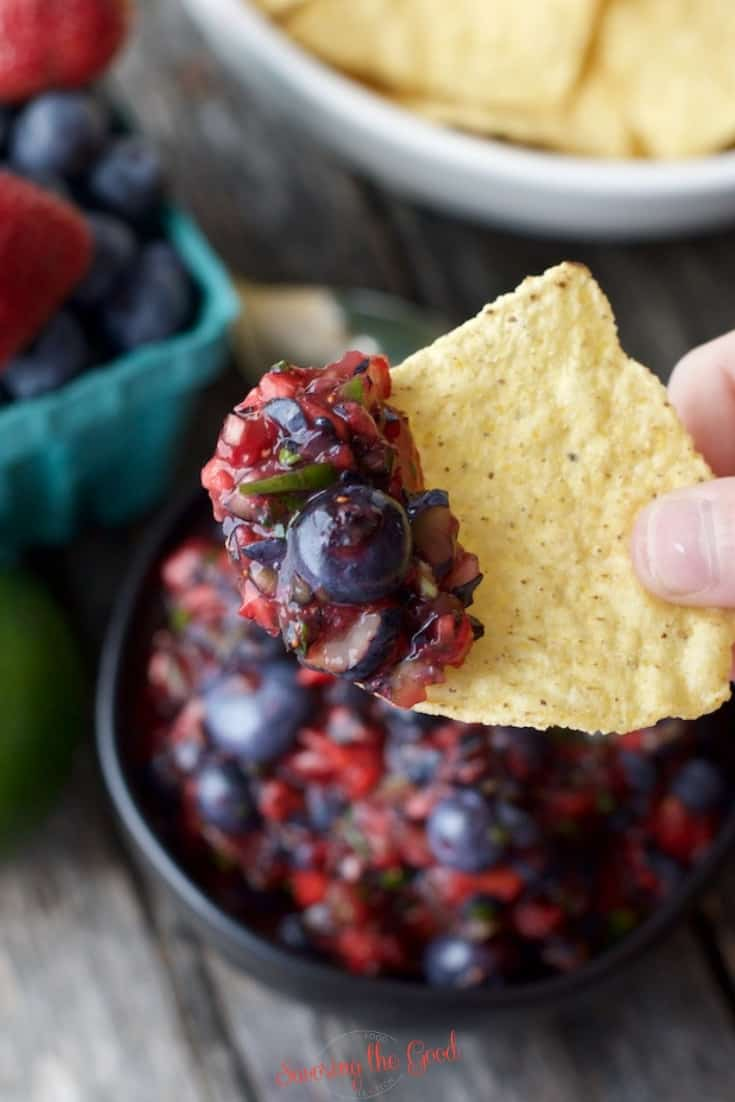blueberry salsa recipe on a chip