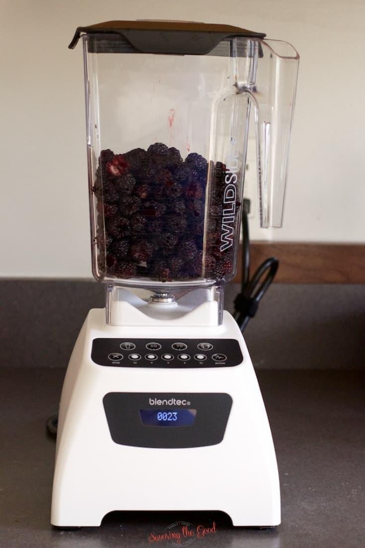 black raspberries in a blender to crush