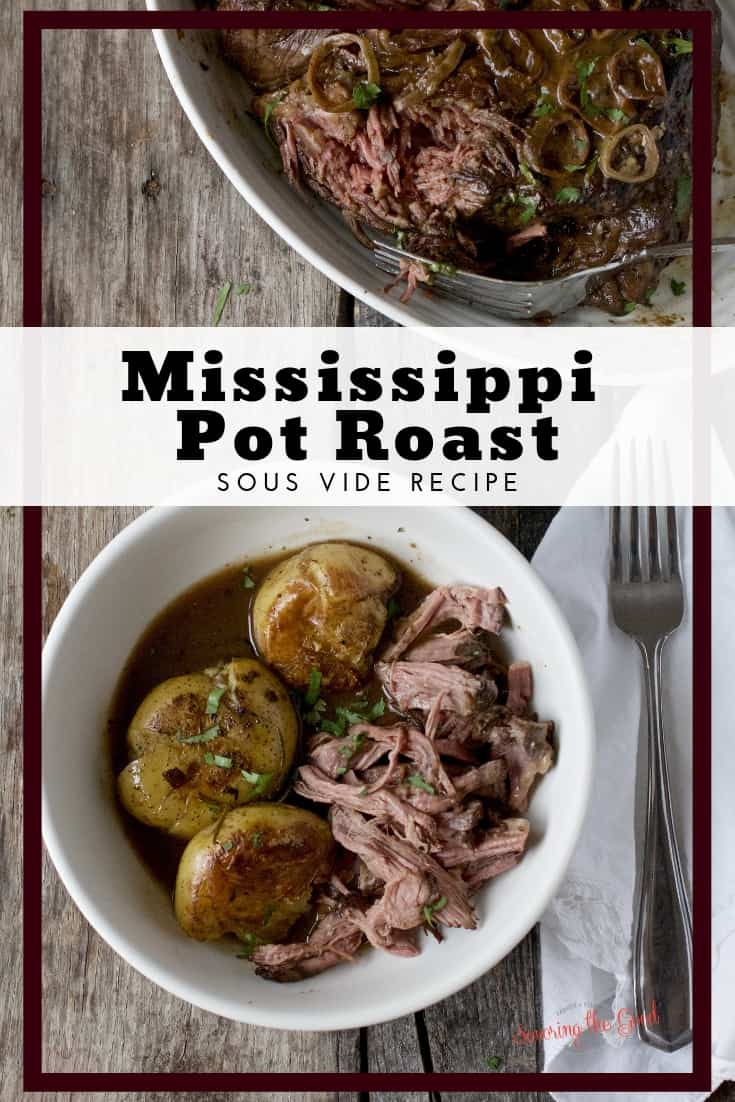 pinterest image for Sous Vide Mississippi Pot Roast