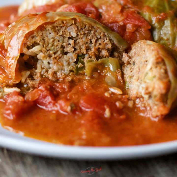 Stuffed Cabbage Rolls on a white plate square image