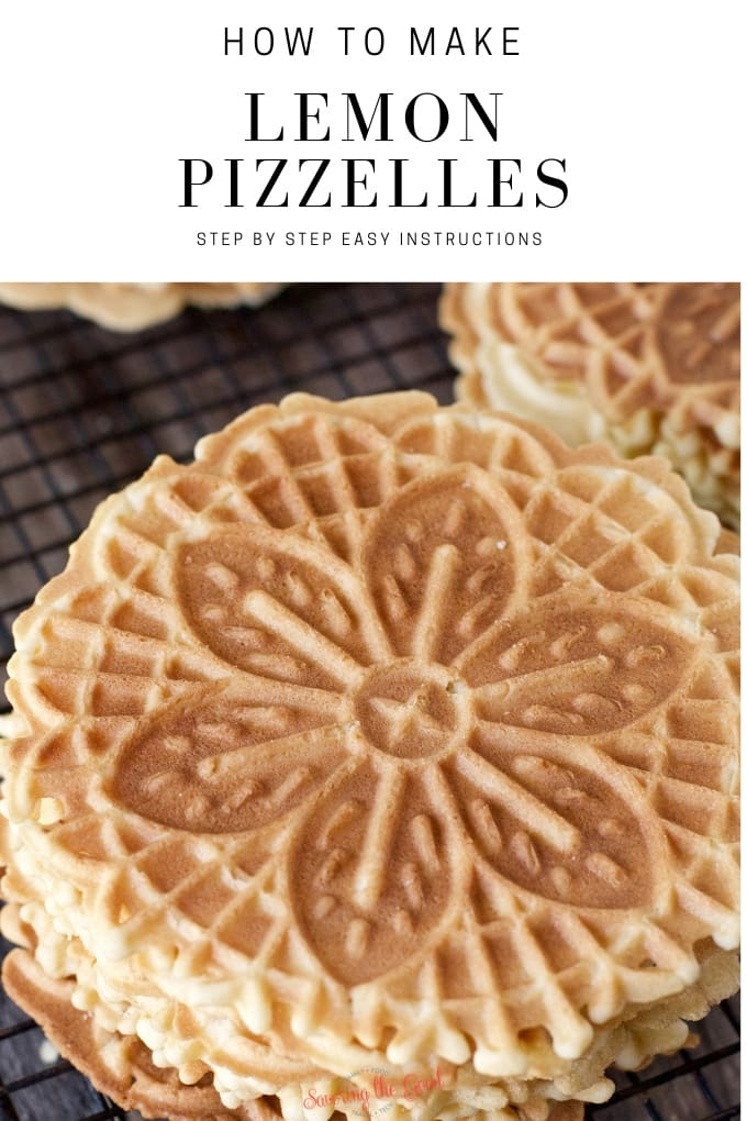 This lemonpizzelle recipe is a citrus variation of the classic pizzelle recipe and a delicious addition to your Christmas cookie recipe box. Thin and crisp, pizzelles are a classic Italian cookie and are a favorite to take to holiday cookie exchanges. #christmascookierecipe #cookierecipe #italiancookierecipe #pizzellerecipe #stgrecipes
