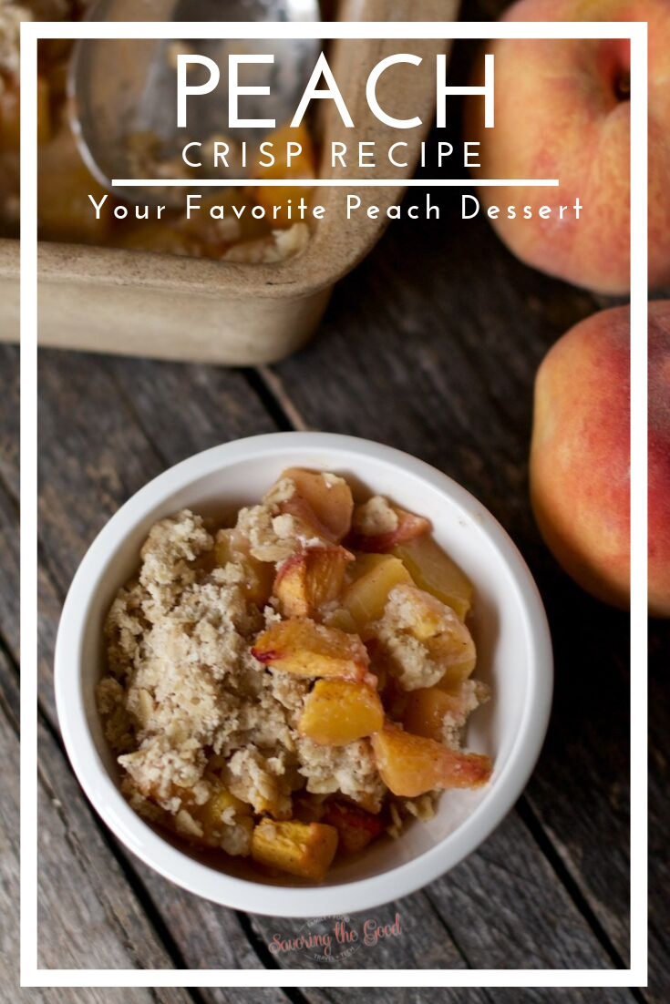 This easy peach crisp recipe is super simple, full of juicy peach flavors and is topped with an oatmeal streusel topping. I use fresh peaches but canned peaches or frozen peaches can also be used. #dessertrecipe #peaches #peachrecipe #peachcrisp #stgrecipes