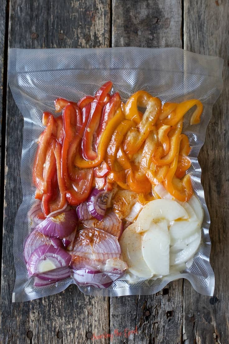 sous vide fajita vegetables vacuum sealed ready for the water bath
