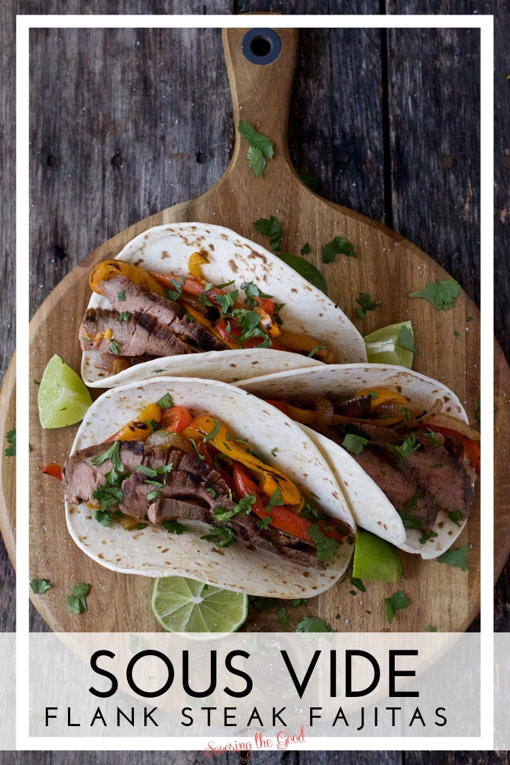 The most tender Flank Steak Fajitas are made with this easy sous vide Flank Steak recipe.  The Flank Steak is juicy, tender and flavorful thanks to the sous vide cooking technique. #BeefItsWhatsForDinner #BeefFarmersandRanchers #NicelyDone #sousvide #sousviderecipe #sousvidebeef #STGRecipes #fajitarecipe