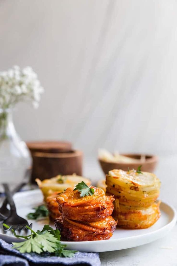 Sweet Potato Stacks and Garlic Potato Stacks