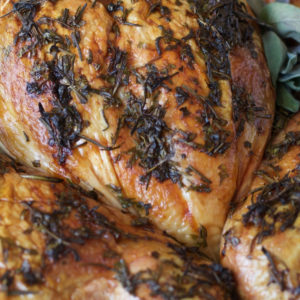 close up of a Spatchcock Turkey roasted