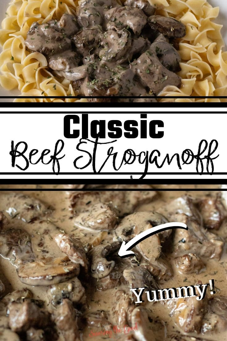 This is my take on Julia Child's classic beef stroganoff recipe. There is no need for cream of mushroom soup in this easy beef stroganoff with my step by step instructions to make the quick and easy stroganoff sauce.