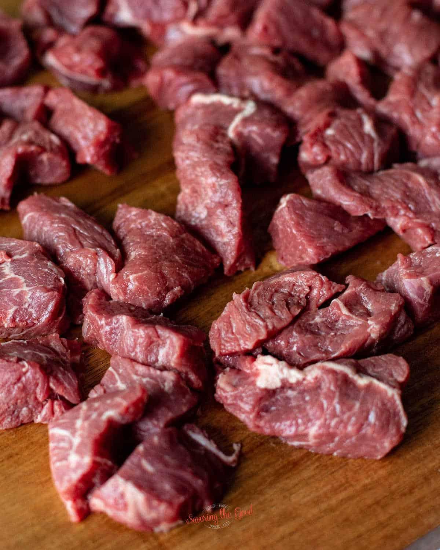 beef cut for Beef Stroganoff