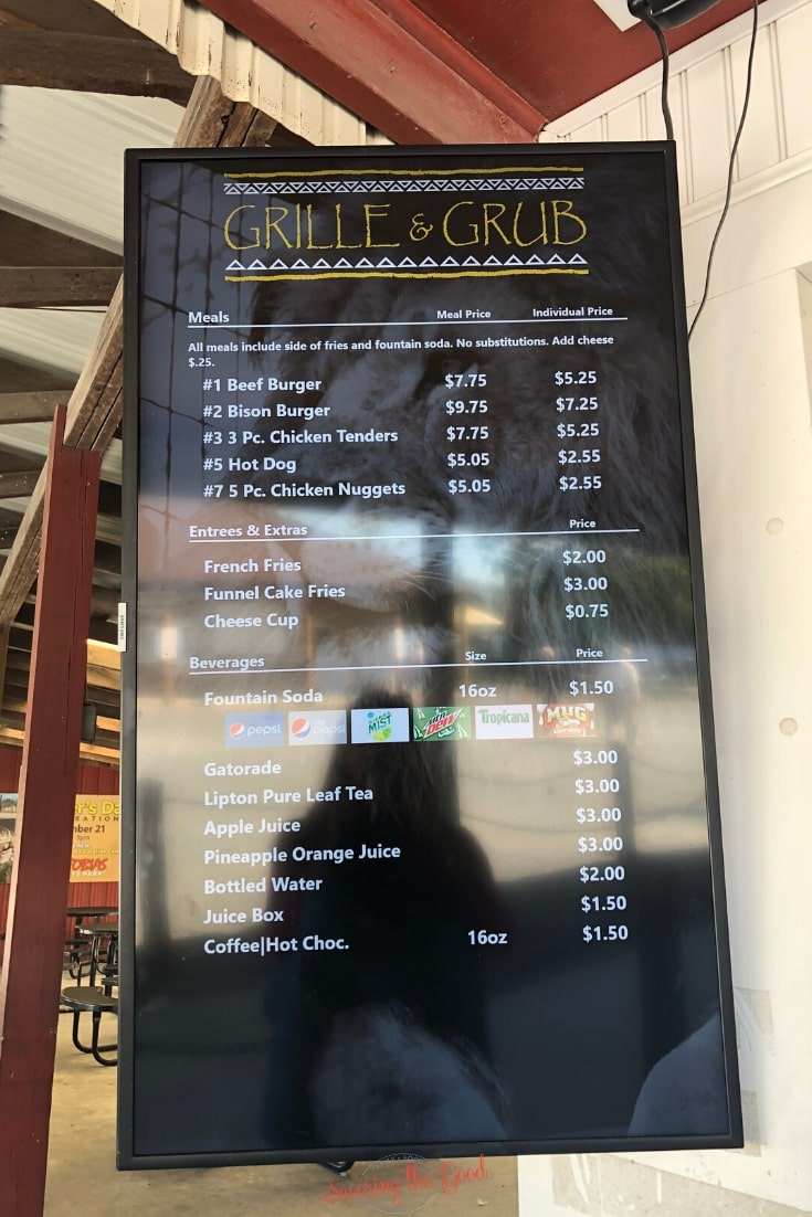 concession stand menu at Lake Tobias Wildlife Park