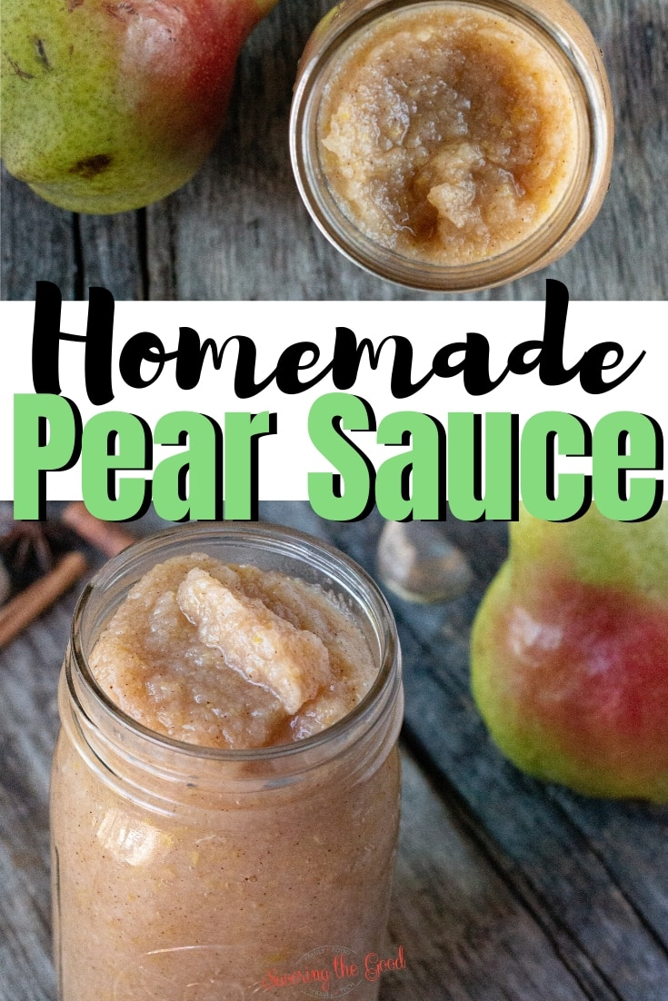 Homemade Pear Sauce is just like applesauce but made with fresh pears! Add additional layers of flavor with cinnamon, nutmeg, cardamon and vanilla to personalize your sauce. This easy recipe has a sugar-free option. #fruitsauce #pears #pearrecipe