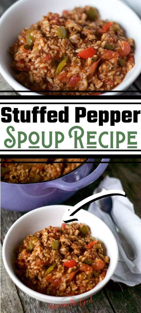 Stuffed pepper soup has all the flavors of your favorite stuffed bell peppers but without the work and mess of making stuffed peppers. This easy soup recipe has ground beef and ground sausage for extra flavor along with bell peppers crushed tomatoes and your choice of white or brown rice.