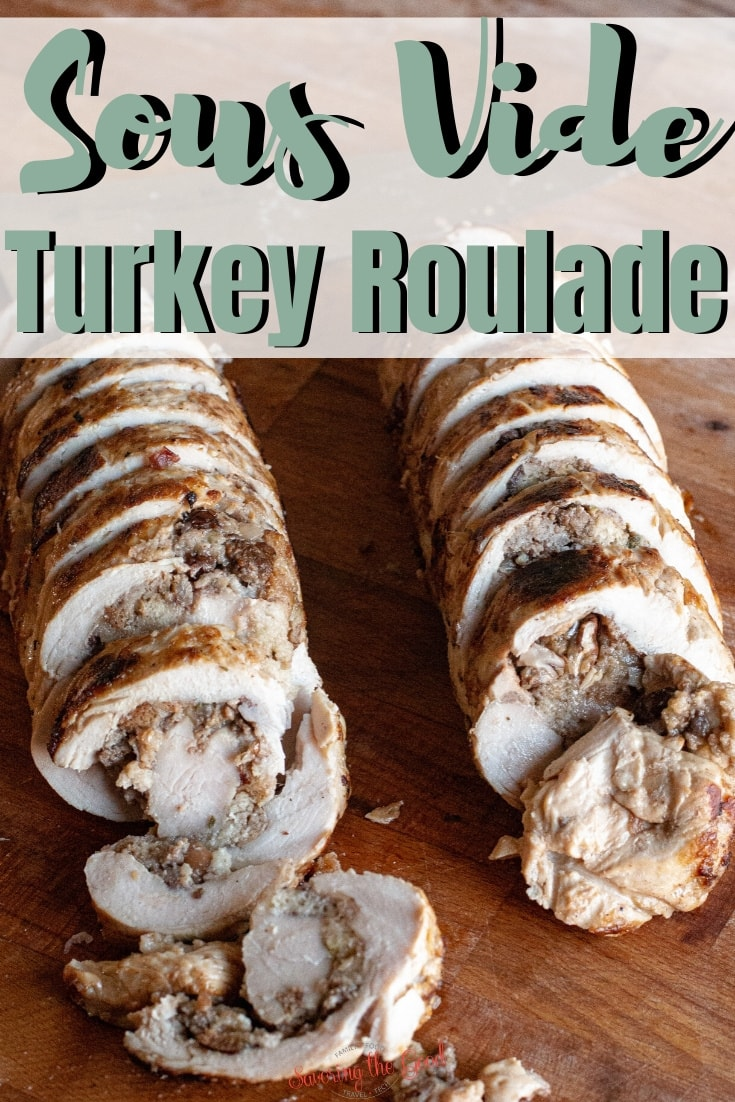 This turkey roulade recipe is perfection on a plate! Your choice of turkey tenderloin or boneless, skinless turkey breast is butterflied and rolled up with a simple sausage and cranberry stuffing. Cooked to perfection in a sous vide water bath and seared in a screaming hot skillet to get an amazing golden brown color. Serve turkey roulade for your Thanksgiving feast or Christmas dinner. #sousvide #turkeyrrecipe #thanksgivingrecipe #christmasrecipe