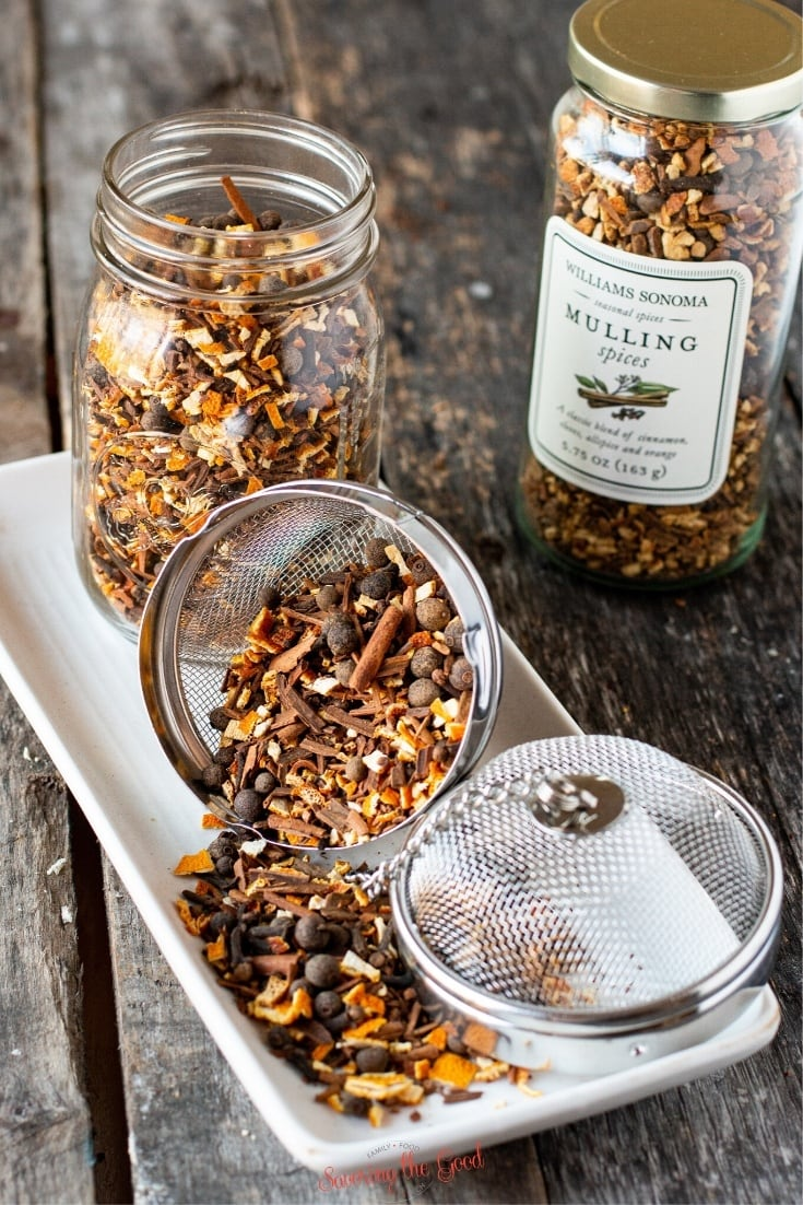 copycat William Sonoma mulling spices on white plate