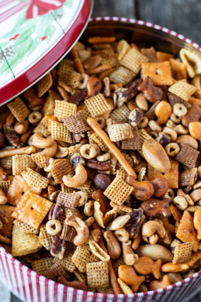 nuts and bolts recipe in a holiday tin