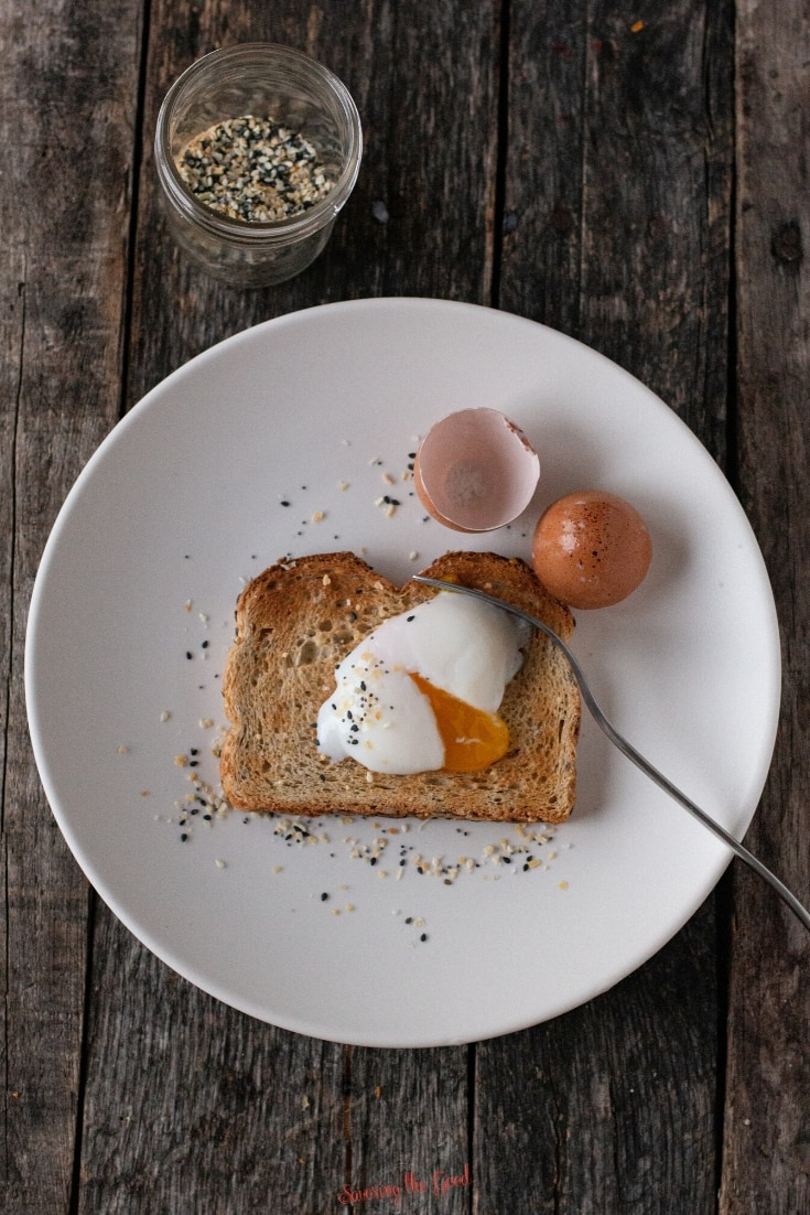 63 degree poached egg on a piece of toasted bread