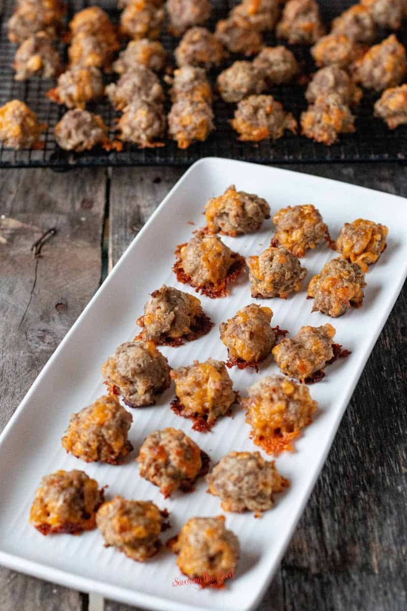 CREAM CHEESE SAUSAGE BALLS on a latter ready for serving