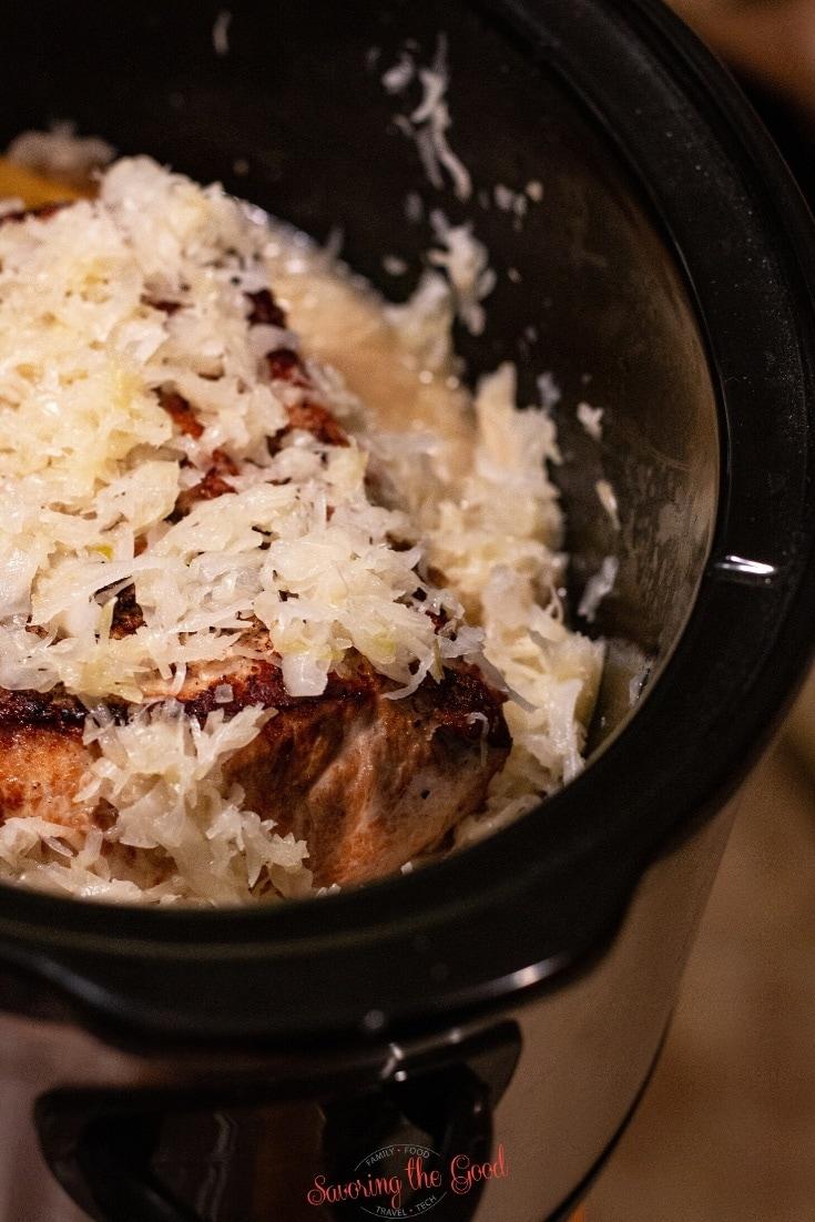 pork and sauerkraut in a slow cooker