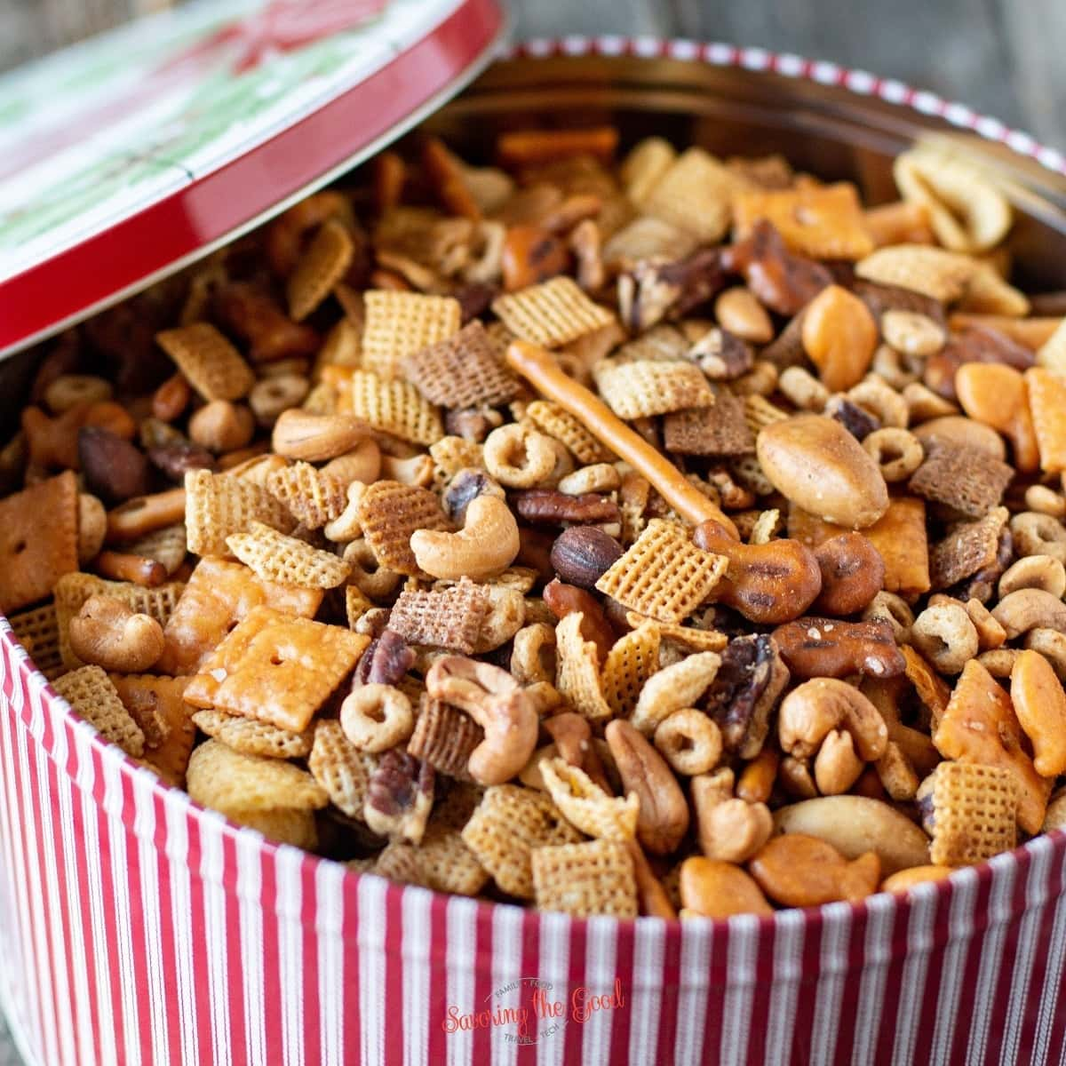 nuts and bolts recipe in a tin square